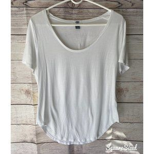 Cute scoopneck white tee NWOT Large